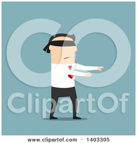 Clipart of a Flat Design White Businessman Walking Blindfolded, on Blue - Royalty Free Vector Illustration by Vector Tradition SM
