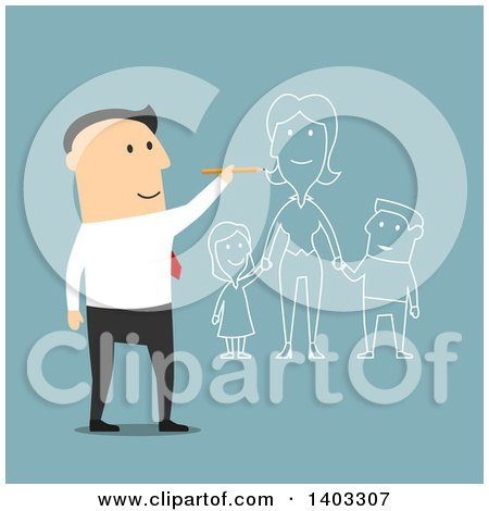 Clipart of a Flat Design White Businessman Dreaming of Having a Family, on Blue - Royalty Free Vector Illustration by Vector Tradition SM
