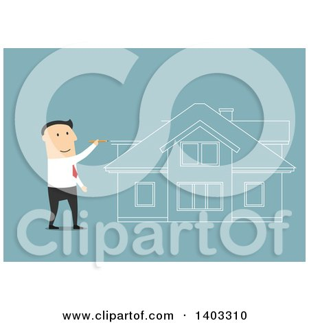 Clipart of a Flat Design White Businessman Dreaming of Buying a House, on Blue - Royalty Free Vector Illustration by Vector Tradition SM