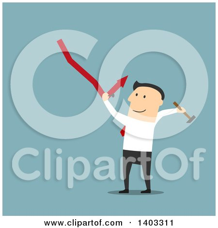 Clipart of a Flat Design White Businessman Trying to Fix a Decline, on Blue - Royalty Free Vector Illustration by Vector Tradition SM