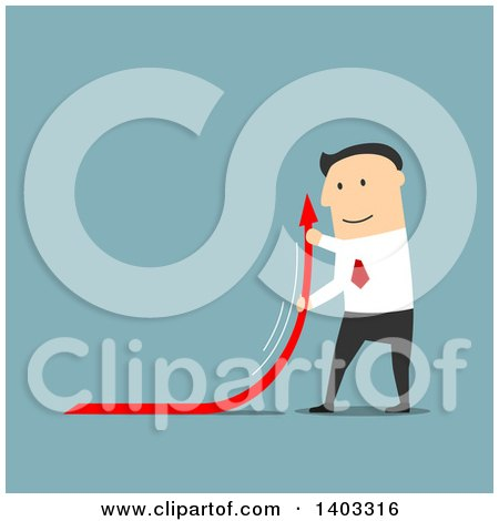 Clipart of a Flat Design White Businessman Curving an Arrow Upwards, on Blue - Royalty Free Vector Illustration by Vector Tradition SM