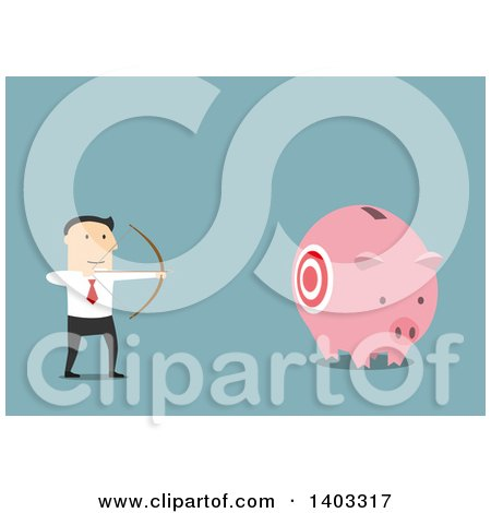 Clipart of a Flat Design White Businessman Aiming at a Piggy Bank, on Blue - Royalty Free Vector Illustration by Vector Tradition SM