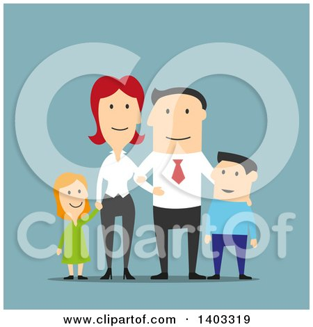 Clipart of a Flat Design White Businessman and His Family, on Blue - Royalty Free Vector Illustration by Vector Tradition SM