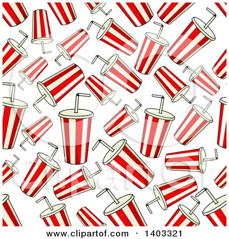 Clipart of a Seamless Background Pattern of Fountain Sodas - Royalty Free Vector Illustration by Vector Tradition SM