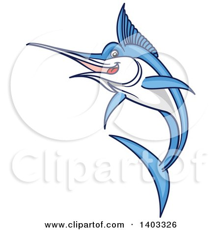 Clipart of a Jumping Cartoon Marlin Swordfish - Royalty Free Vector Illustration by Vector Tradition SM