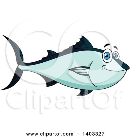 Clipart of a Cartoon Blue Tuna Fish - Royalty Free Vector Illustration by Vector Tradition SM