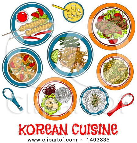Clipart of a Sketched Setting of Korean Foods with Text - Royalty Free Vector Illustration by Vector Tradition SM