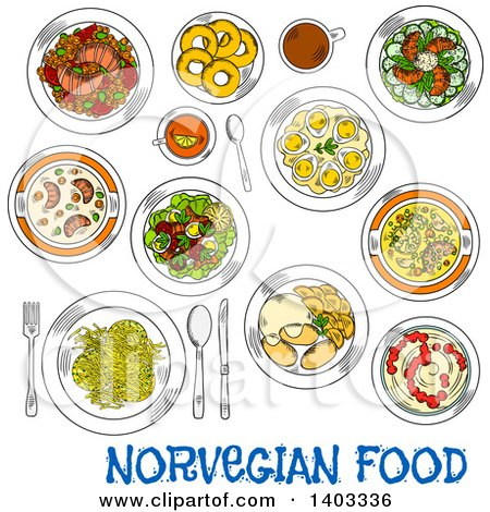 Clipart of a Sketched Setting of Norwegian Foods with Text - Royalty Free Vector Illustration by Vector Tradition SM
