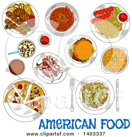 Clipart of a Sketched Setting of American Foods with Text - Royalty Free Vector Illustration by Vector Tradition SM