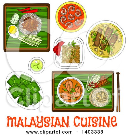 Clipart of a Sketched Setting of Malaysian Foods with Text - Royalty Free Vector Illustration by Vector Tradition SM