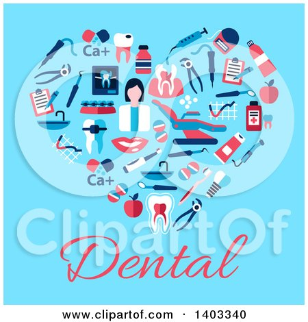 Clipart of a Flat Design Heart Made of Dental Items, on Blue with Text - Royalty Free Vector Illustration by Vector Tradition SM