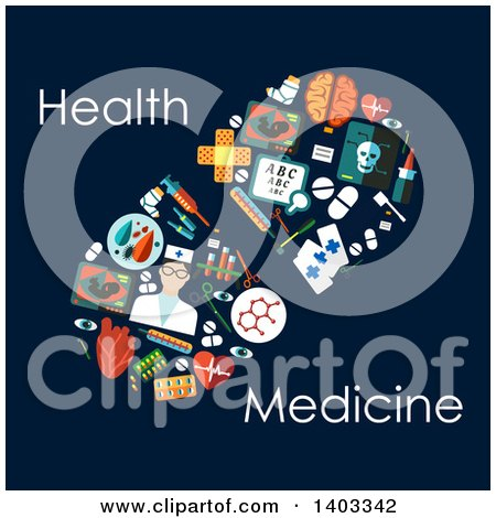 Clipart of a Flat Design Pill Made of Medical Items, with Text on Blue - Royalty Free Vector Illustration by Vector Tradition SM