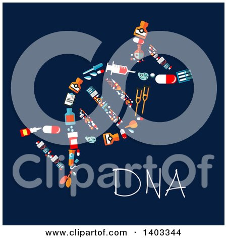 Clipart of a Flat Design Dna Strand Made of Medical Items on Blue - Royalty Free Vector Illustration by Vector Tradition SM