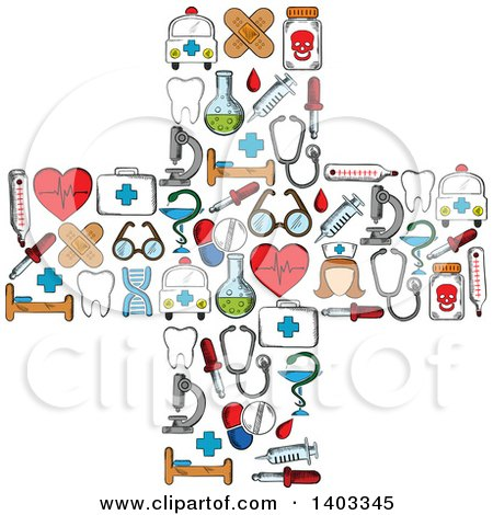 Clipart of a Cross Formed of Medical Items - Royalty Free Vector Illustration by Vector Tradition SM