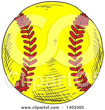 Clipart of a Sketched Softball - Royalty Free Vector Illustration by Vector Tradition SM