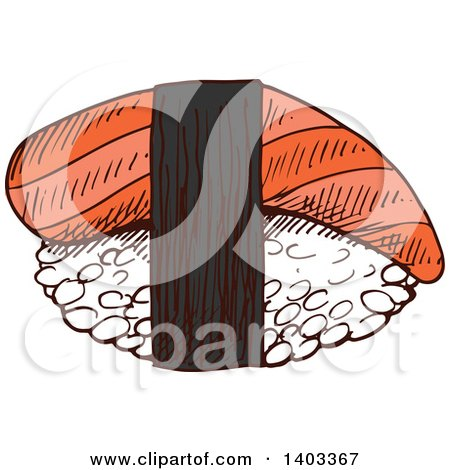 Clipart of a Sketched Piece of Nigiri Sushi with Smoked Salmon or Tuna - Royalty Free Vector Illustration by Vector Tradition SM