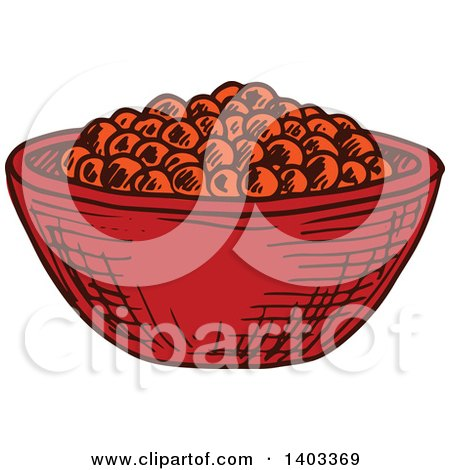 Clipart of a Sketched Bowl of Red Caviar - Royalty Free Vector Illustration by Vector Tradition SM