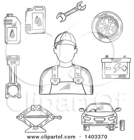 Clipart of a Sketched Mechanic, Car on Jack, Wheel, Spanner, Piston, Battery and Motor Oil - Royalty Free Vector Illustration by Vector Tradition SM