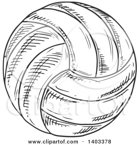 Clipart of a Sketched Volleyball - Royalty Free Vector Illustration by Vector Tradition SM