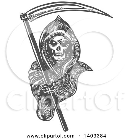 Clipart of a Gray Sketched Grim Reaper Holding a Scythe and Reaching out - Royalty Free Vector Illustration by Vector Tradition SM