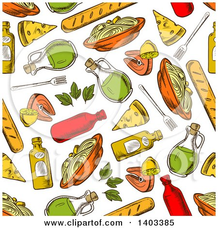 Clipart of a Seamless Background Pattern of Sketched Pasta - Royalty Free Vector Illustration by Vector Tradition SM
