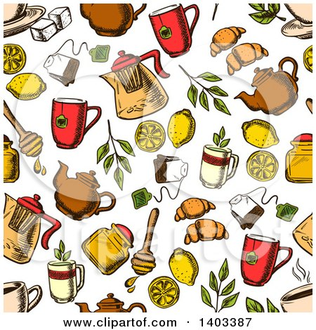 Seamless Background Pattern of Sketched Tea and Snacks Posters, Art Prints