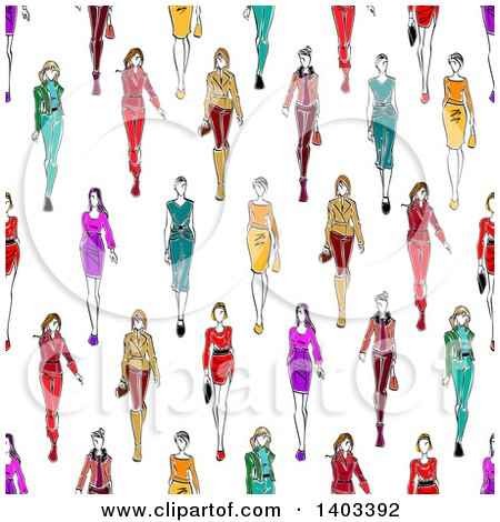 Clipart of a Seamless Background Pattern of Sketched Models - Royalty Free Vector Illustration by Vector Tradition SM