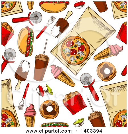Clipart of a Seamless Background Pattern of Sketched Food - Royalty Free Vector Illustration by Vector Tradition SM