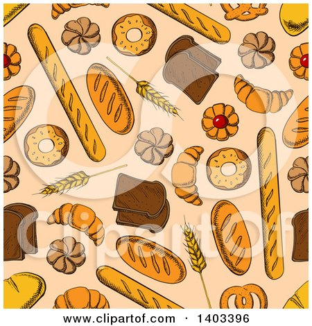 Clipart of a Seamless Background Pattern of Sketched Bread and Pastries - Royalty Free Vector Illustration by Vector Tradition SM