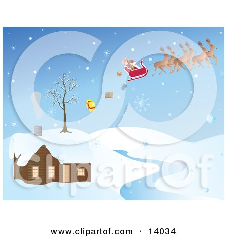 Snowflakes Falling on Santa in His Sleigh Pulled by His Reindeer, Dropping Christmas Presents While Passing Over a House by a River Clipart Illustration by Rasmussen Images