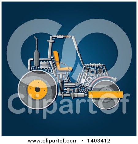 Clipart of a Road Roller Machine with Visible Parts on Blue - Royalty Free Vector Illustration by Vector Tradition SM