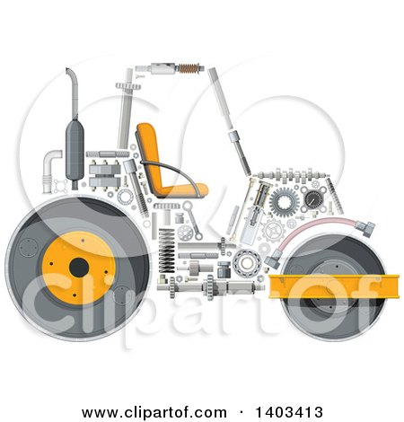 Clipart of a Road Roller Machine with Visible Parts - Royalty Free Vector Illustration by Vector Tradition SM