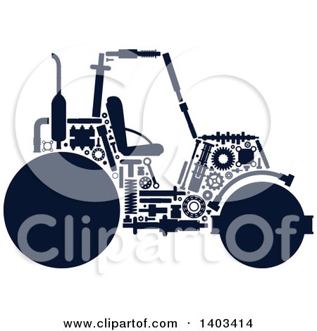 Clipart of a Silhouetted Road Roller Machine with Visible Parts - Royalty Free Vector Illustration by Vector Tradition SM