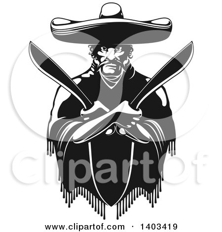 Black and White Mexican Bandit Wearing a Poncho and Sombrero and Holding Machetes in Crossed Arms Posters, Art Prints