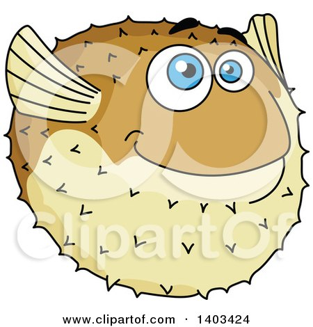 Clipart of a Cartoon Blow Fish - Royalty Free Vector Illustration by Vector Tradition SM