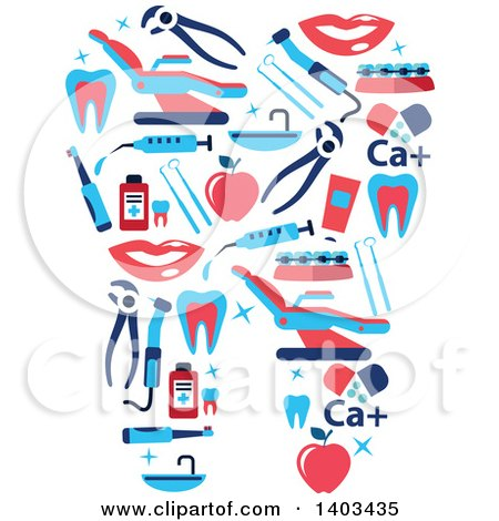 Clipart of a Tooth Formed of Dental Items - Royalty Free Vector Illustration by Vector Tradition SM
