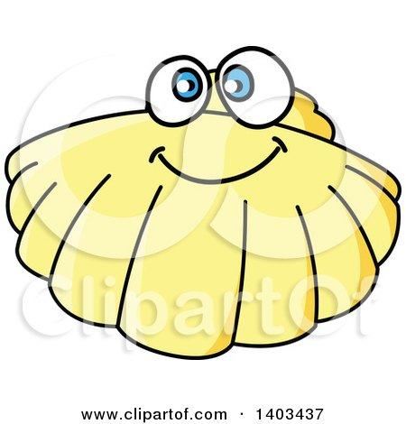 Clipart Vintage Black And White Scallop Shell Royalty