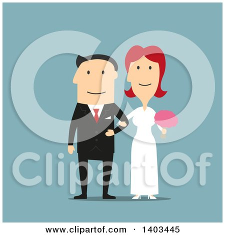 Clipart of a Flat Design Caucasian Bride and Groom, on Blue - Royalty Free Vector Illustration by Vector Tradition SM