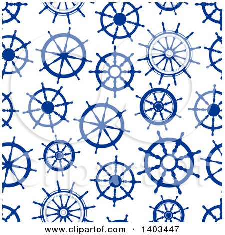 Clipart of a Seamless Background Pattern of Blue Helms - Royalty Free Vector Illustration by Vector Tradition SM