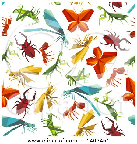 Clipart of a Seamless Background Pattern of Origami Bugs - Royalty Free Vector Illustration by Vector Tradition SM