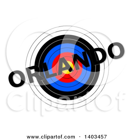 Clipart of a Target with Orlando Text over It, on a White Background - Royalty Free Illustration by oboy