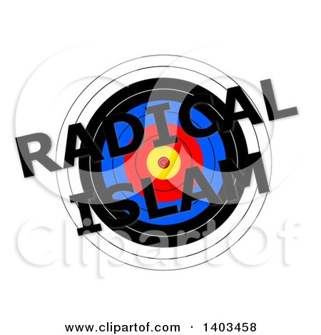 Clipart of a Target with Radical Islam Text over It, on a White Background - Royalty Free Illustration by oboy