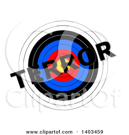 Clipart of a Target with Terror Text over It, on a White Background - Royalty Free Illustration by oboy