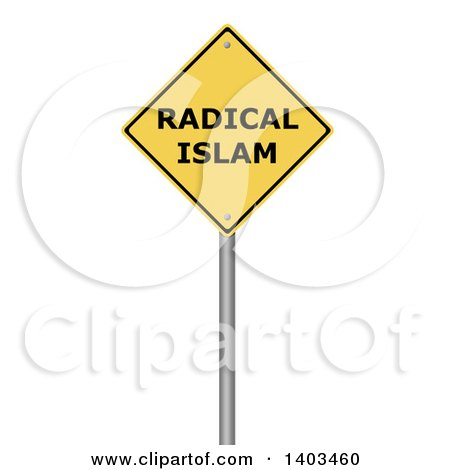 Clipart of a 3d Yellow Radical Islam Warning Sign, on a White Background - Royalty Free Illustration by oboy