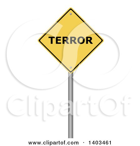 Clipart of a 3d Yellow Terror Warning Sign, on a White Background - Royalty Free Illustration by oboy