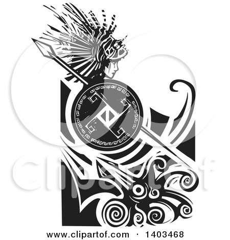 Clipart of a Black and White Woodcut Profiled Medusa with Lionfish Hair, Holding a Spear and Shield in Waves over a Squid - Royalty Free Vector Illustration by xunantunich