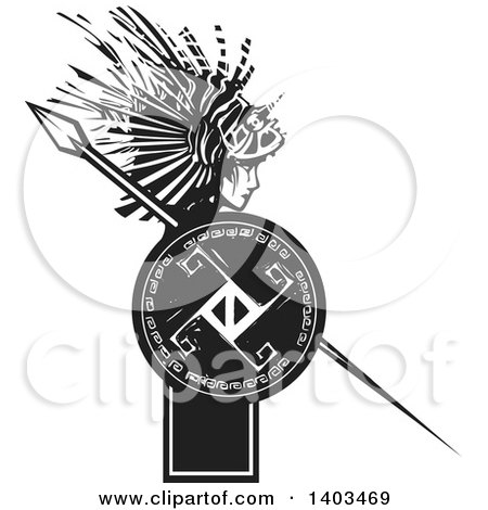 Clipart of a Black and White Woodcut Profiled Medusa with Lionfish Hair, Holding a Spear and Shield - Royalty Free Vector Illustration by xunantunich