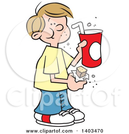 Clipart of a Cartoon Dirty Blond White Boy Eating a Candy Bar and Drinking a Fountain Soda - Royalty Free Vector Illustration by Johnny Sajem
