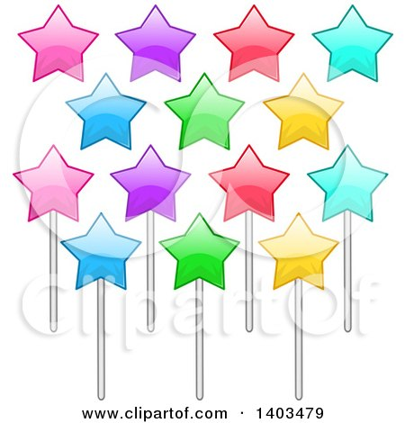 Clipart of Colorful Stars on Sticks - Royalty Free Vector Illustration by Liron Peer