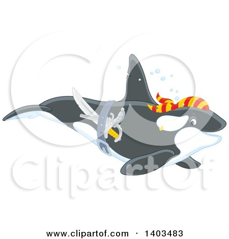 Clipart of a Pirate Killer Whale Swimming - Royalty Free Vector Illustration by Alex Bannykh